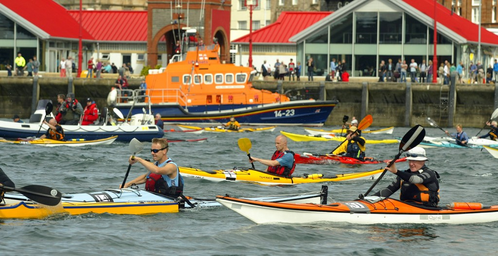 Competitors make their way to the start of the Oban Sea Kayak Race. Copyright Graham Milne